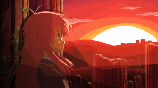 jinrui_wa_suitai_shimashita-11-watashi-student-sunset-light-red-colors-alone-ruins-thinking