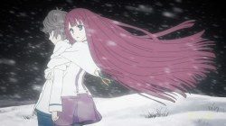shin_sekai_yori-15-maria-mamoru-hug-romance-love-winter-snow-storm-looking_back