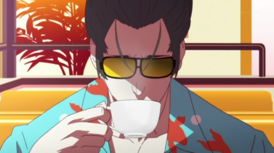 monogatari_series_second_season-21-kaiki-suzuki-disguise-sunglasses-hawaiian_shirt-coffee-drinking