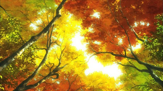 non_non_biyori-08-autumn-leaves-red-yellow-orange-sunlight-sky-forest-trees