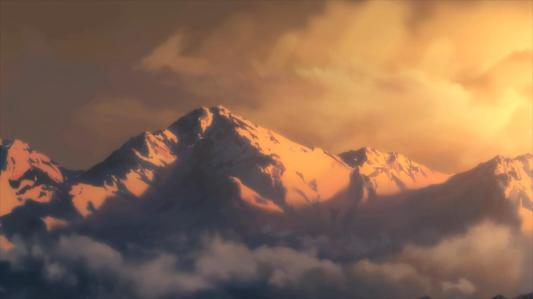 utawarerumono_itsuwari_no_kamen-01-winter-mountains-snow-sunset-dusk-shadows-light-clouds