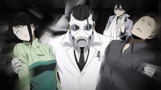 durarara_x2_ketsu-04-namie-shingen-seiji-shinra-knocked_out-comedy-thumbs_up-gas_mask-lab_coat